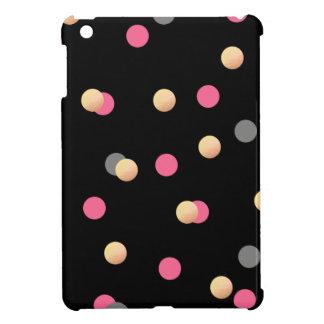 faux gold foil pink grey confetti dots pattern iPad mini covers