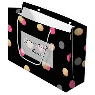 faux gold foil pink grey confetti dots pattern large gift bag