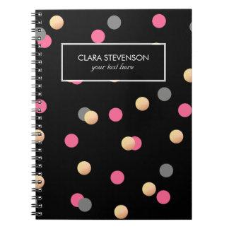 faux gold foil pink grey confetti dots pattern notebook