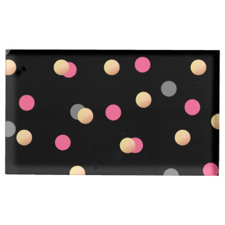 faux gold foil pink grey confetti dots pattern table card holders