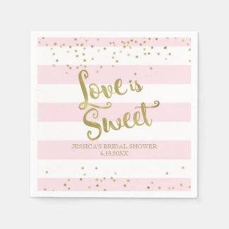 Faux Gold Foil Pink Stripes Love is Sweet Shower Disposable Napkins