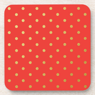 Faux Gold Foil Polka Dots Modern Cherry Red Beverage Coasters