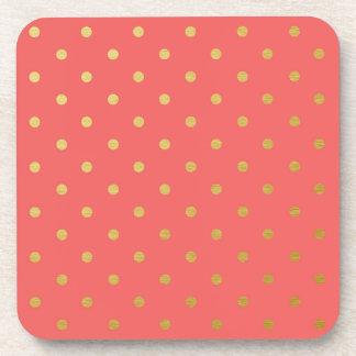 Faux Gold Foil Polka Dots Modern Coral Pink Drink Coaster