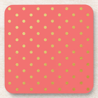 Faux Gold Foil Polka Dots Modern Coral Pink Drink Coaster