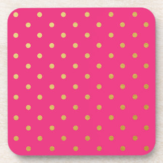 Faux Gold Foil Polka Dots Modern Hot Pink Coaster