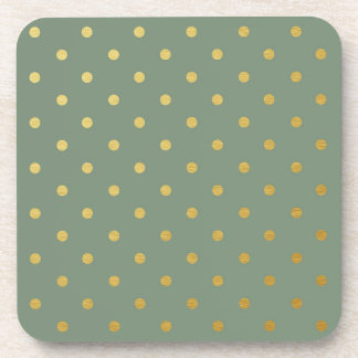 Faux Gold Foil Polka Dots Modern Moss Green Coaster