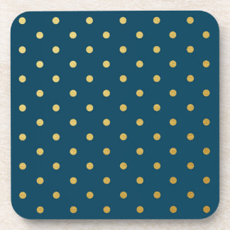 Faux Gold Foil Polka Dots Modern Navy Blue Drink Coasters