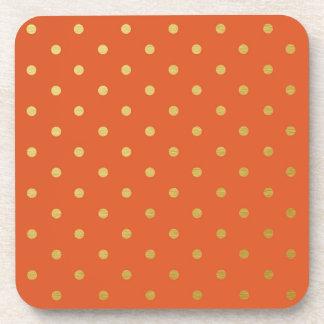 Faux Gold Foil Polka Dots Modern Orange Drink Coaster