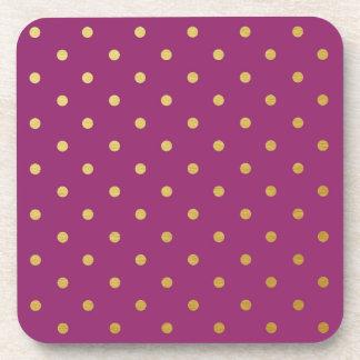 Faux Gold Foil Polka Dots Modern Purple Coasters