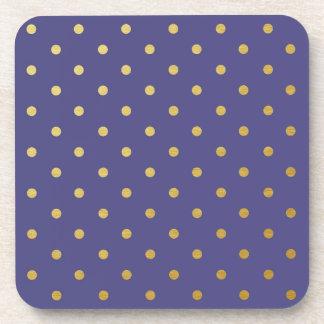 Faux Gold Foil Polka Dots Modern Purple Drink Coaster