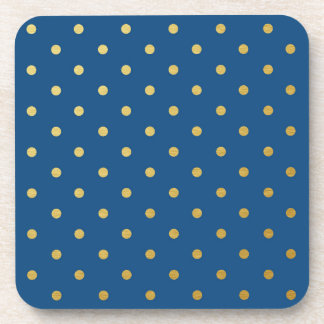 Faux Gold Foil Polka Dots Modern Royal Blue Beverage Coaster