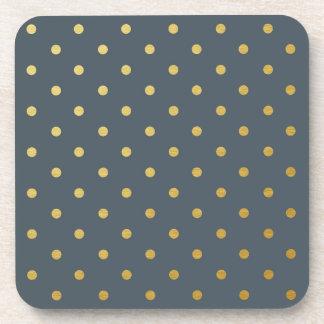 Faux Gold Foil Polka Dots Modern Slate Gray Beverage Coaster