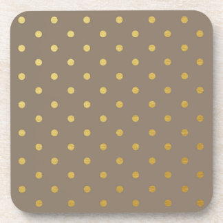 Faux Gold Foil Polka Dots Modern Taupe Brown Coasters