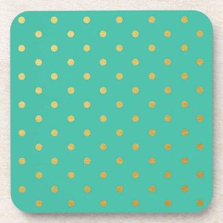 Faux Gold Foil Polka Dots Modern Teal Green Beverage Coaster