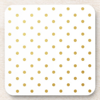 Faux Gold Foil Polka Dots Modern White Coaster