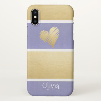 Faux Gold Foil Purple Stripes Heart Personalised iPhone X Case