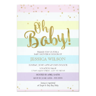 Faux Gold Foil Rainbow Stripes Oh Baby Shower 13 Cm X 18 Cm Invitation Card