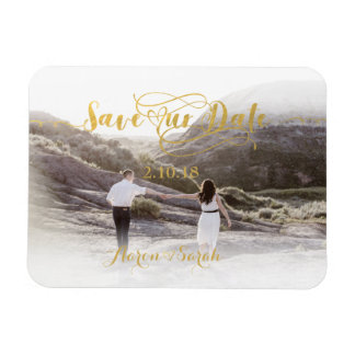 Faux Gold Foil Save our Date Vintage Magnet