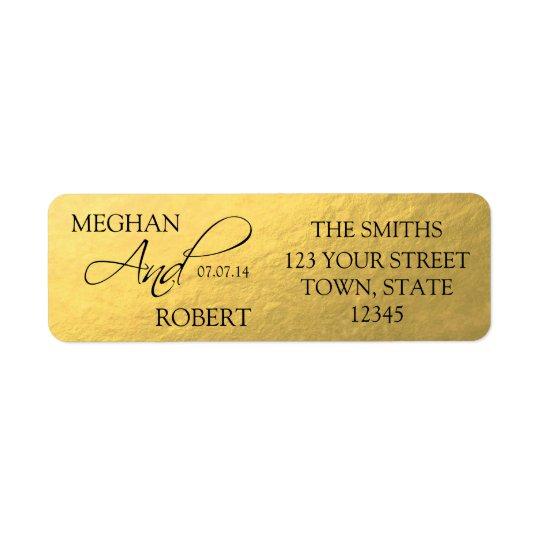 Faux Gold Foil Save the Date Bride Groom Adress Return Address Label