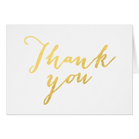 Faux Gold Foil Script Chic Wedding Thank You Card