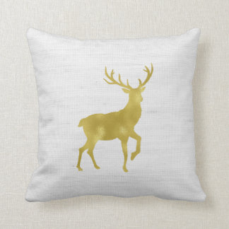 Faux Gold Foil Stag Deer and Antlers on Gray Linen Cushion
