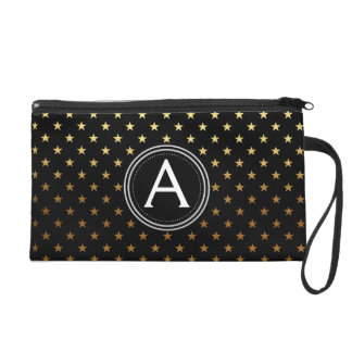 Faux Gold Foil Star Pattern and Black Monogrammed Wristlet
