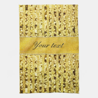 Faux Gold Foil Stripes and Confetti Hand Towel