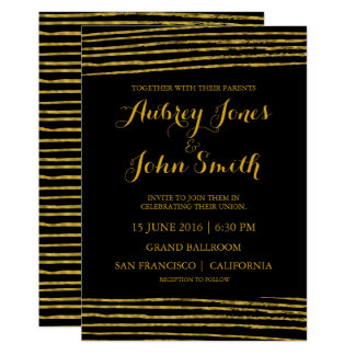 Faux Gold Foil Stripes Black Wedding Invitation