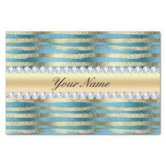 Faux Gold Foil Stripes on Wavy Blue Metallic Tissue Paper
