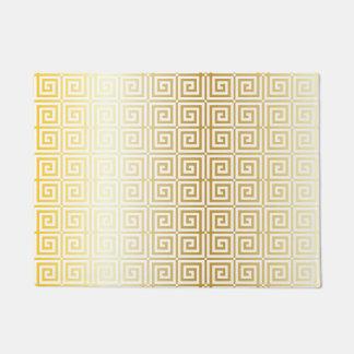 Faux Gold Foil Trellis Greek Key Pattern Doormat