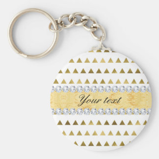 Faux Gold Foil Triangles Pattern and Diamonds Basic Round Button Key Ring