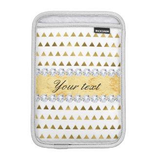 Faux Gold Foil Triangles Pattern and Diamonds iPad Mini Sleeve
