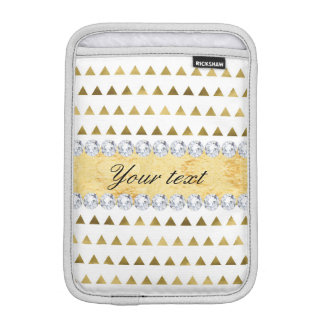 Faux Gold Foil Triangles Pattern and Diamonds iPad Mini Sleeves