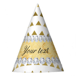 Faux Gold Foil Triangles Pattern and Diamonds Party Hat
