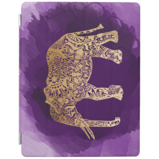 faux gold foil tribal elephant purple brushstroke iPad cover