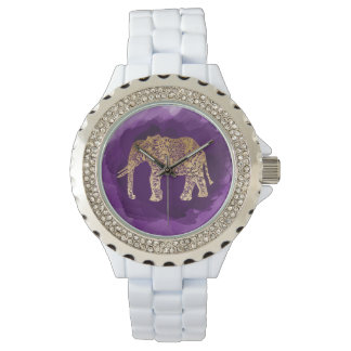 faux gold foil tribal elephant purple brushstroke watches