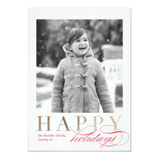 Faux Gold Foil Washi Tape Holiday Photo Card