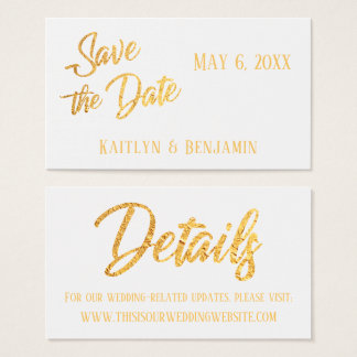 Faux Gold Foil, Wedding Detail Save the Date Card