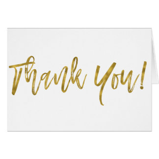 Faux Gold Foil Wedding Thank You Card