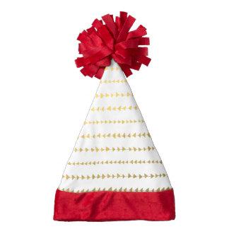 Faux Gold Foil White Arrows Pattern Santa Hat