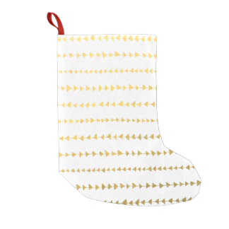 Faux Gold Foil White Arrows Pattern Small Christmas Stocking