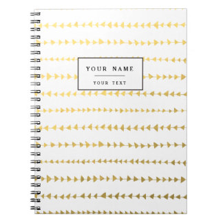 Faux Gold Foil White Arrows Pattern Notebook