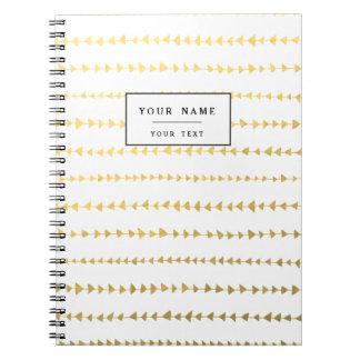 Faux Gold Foil White Arrows Pattern Notebooks