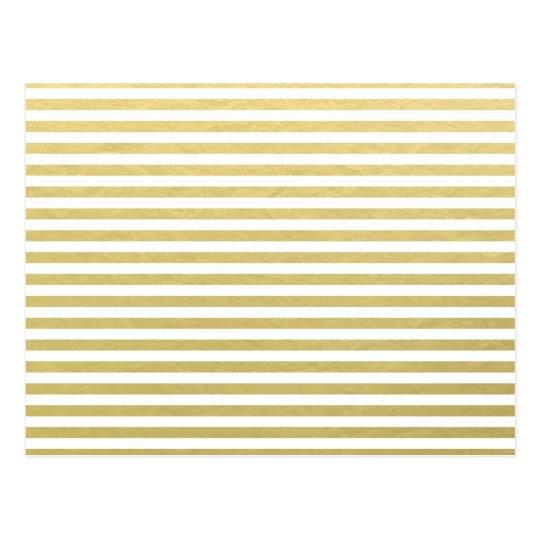 Faux Gold Foil White Stripes Pattern Postcard