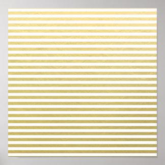 Faux Gold Foil White Stripes Pattern Poster