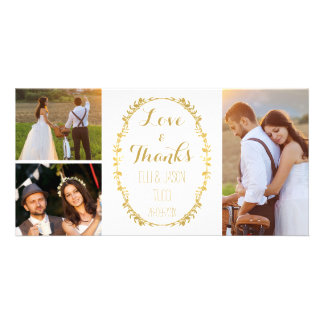 Faux Gold Foil Wreath Wedding Thank You Photocard Card