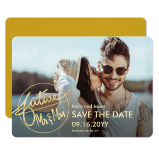 Faux Gold Future Mr and Mrs Photo Save the Date Card