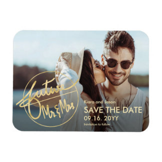 Faux Gold Future Mr and Mrs Photo Save The Date Magnet