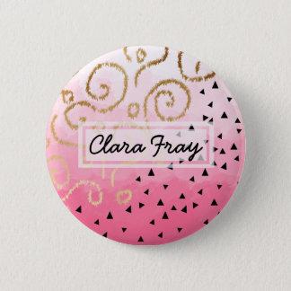 faux gold geometric pattern rose pink brushstrokes 6 cm round badge