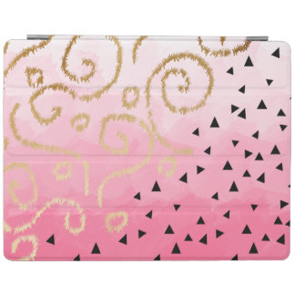 faux gold geometric pattern rose pink brushstrokes iPad cover